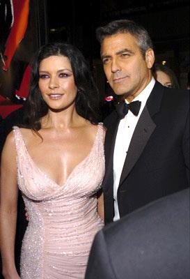 Catherine Zeta-Jones and George Clooney at the Hollywood premiere of Warner Bros. Ocean's Twelve