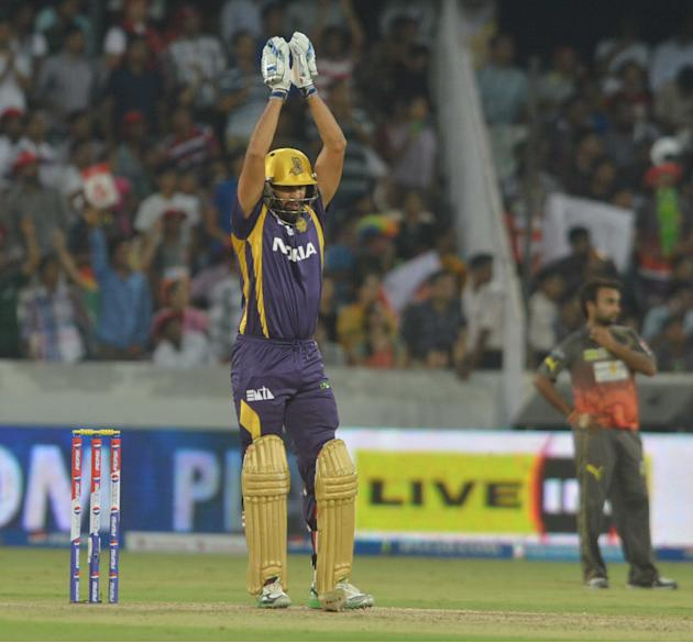 KKR batsman Yusuf Pathan in action during the match between Sunrisers Hyderabad and Kolkata Knight Riders at Rajiv Gandhi International Cricket Stadium Uppal in Hyderabad (Deccan), May 19, 2013. (Phot