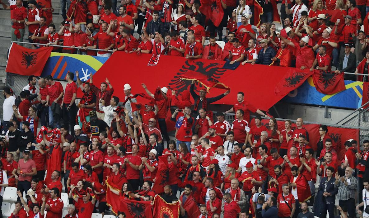 Albania fans before the match