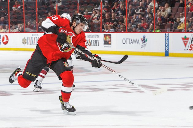 OTTAWA, CANADA - OCTOBER 18: Mike Hoffman #68 of the Ottawa Senators fires a shot against the Arizona Coyotes during an NHL game at Canadian Tire Centre on October 18, 2016 in Ottawa, Ontario, Canada. (Photo by Francois Laplante/FreestylePhoto/Getty Images)