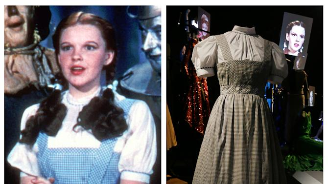 "This photo combo shows, at left, actress Judy Garland as Dorothy in a scene from ""The Wizard of Oz,"" and at right, is an Oct. 16, 2012 file photo showing the dress Garland wore in the movie, on display in London. On Sunday, Nov. 11, 2012, auction house Julien's Auctions said the gingham dress fetched the highest price of any item during a two-day auction of Hollywood memorabilia that attracted bids from around the world, selling for $480,000. (AP Photo/Warner Bros., Alastair Grant)"