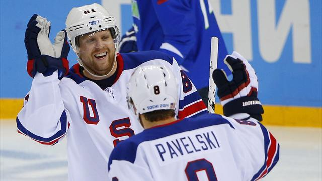 Ice Hockey - USA claim bye to quarters, Russia struggle again