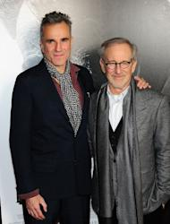 """Actor Daniel Day-Lewis and director Steven Spielberg arrive for a screening of """"Lincoln"""" at the AFI Fest in Hollywood on November 8, 2012. Spielberg will be hoping to fare better with """"Lincoln"""" than he did with last year's epic """"War Horse,"""" which was nominated for six Oscars and two Globes but went home empty-handed"""