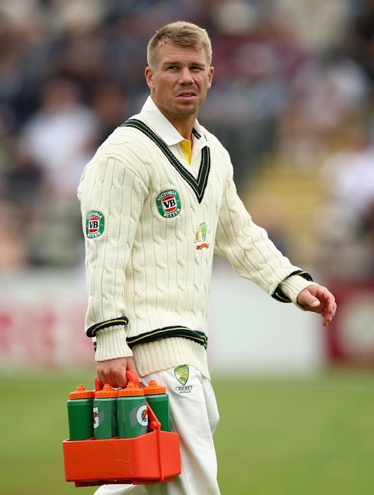 David Warner seen carrying drinks