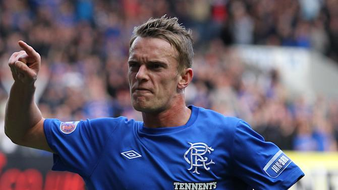 Dean Shiels celebrates scoring Rangers' first goal in Sunday's 4-1 win over Montrose