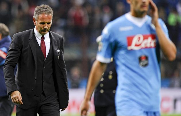 AC Milan's coach Sinisa Mihajlovic reacts at the end of their Italian Serie A soccer match against Napoli at the San Siro stadium in Milan