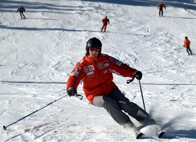 File photo of Formula One world champion Michael Schumacher skiing in the northern Italian resort of Madonna Di Campiglio