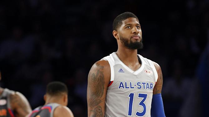 Eastern Conference forward Paul George of the Indiana Pacers (13) reacts during the second half of the NBA All-Star basketball game in New Orleans, Sunday, Feb. 19, 2017. (AP Photo/Max Becherer)