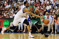 Philadelphia 76ers' Andre Iguodala (L) and Boston Celtics' Paul Pierce during game four of their NBA Eastern Conference series on May 18. The Sixers rallied to beat the Celtics 92-83