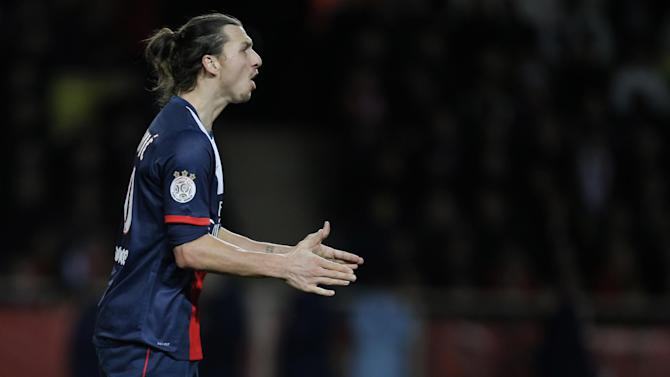 Paris Saint Germain's Zlatan Ibrahimovic of Sweden gesticulates during his French League One soccer match against Monaco, in Monaco stadium, Sunday, Feb. 9 , 2014