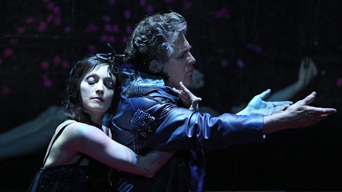 """In this theater image released by The Publicity Office, Bebe Neuwirth, left, and Anthony Heald perform in """"A Midsummer Night's Dream,"""" in New York. (AP Photo/The Publicity Office, Joan Marcus)"""