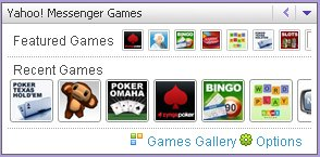 Plug-in displays Featured Games icons and Recent Games icons, with Games Gallery and Options commands