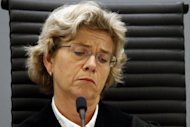 Professional judge Wenche Elizabeth Arntzen reads out the judgment against Anders Behring Breivik in Oslo on Friday, sentencing him to 21 years in prison, which can be extended indefinitely, for the killings of 77 people in July last year