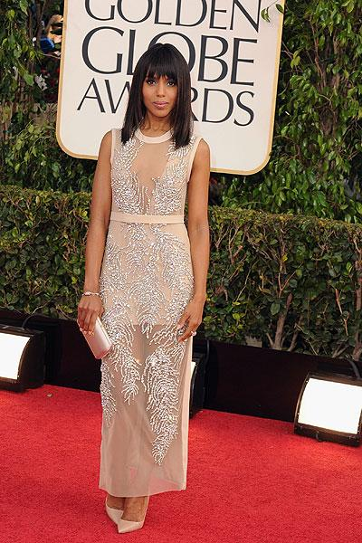 Kerry Washington: The beautiful 'Django Unchained' star is the essence of Hollywood glamour in a sheer two-layer Miu Miu gown. The sequin feathers are dazzling while the nude belt and skirt keep it subtle. It's not a typical celebrity dress and that's why we love it. (Photo by Steve Granitz/WireImage)