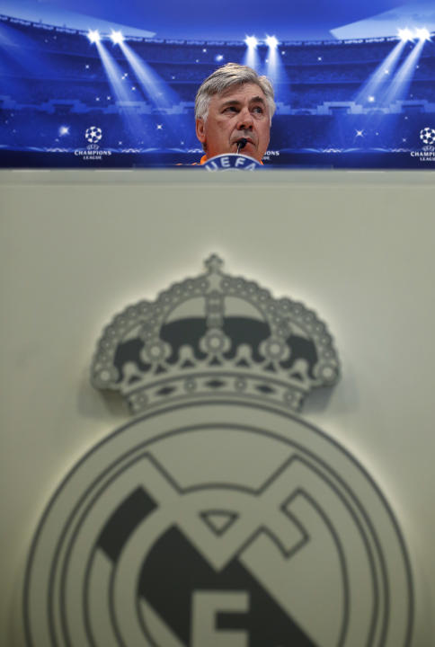 Real Madrid's head coach Carlo Ancelotti listens to a question during a press conference prior to the Champions League round of 16, second leg, soccer match between FC Schalke 04 and Real Madrid i