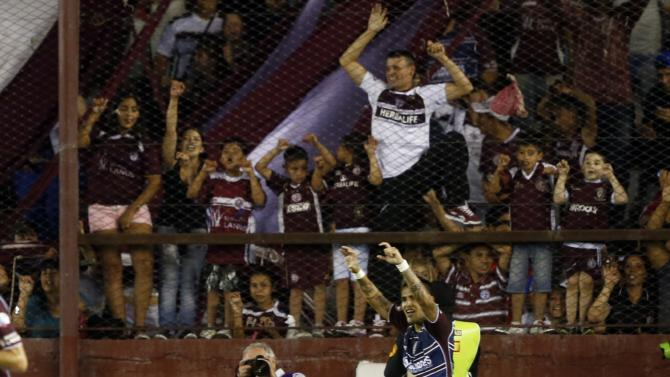 Ayala of Argentina's Lanus celebrates after scoring a goal against Brazil's Ponte Preta during their Copa Sudamericana second leg final soccer match in Buenos Aires