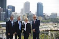 Australian Foreign Minister Bob Carr (R) and Australian Minister of Defense Stephen Smith (2nd L) pose for a photo with US Secretary of State Hillary Clinton (2nd R) and US Secretary of Defense Leon Panetta prior to meetings as part of AUSMIN at the State Reception Center in Kings Park in Perth, on November 14