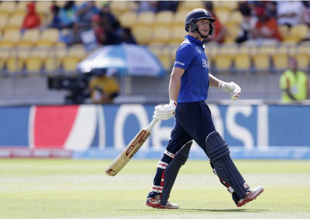England's Ballance walks from the field after being dismissed by Sri Lanka's Dilshan during their Cricket World Cup match in Wellington