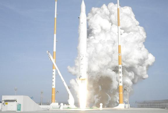 A Korean Space Launch Vehicle 1 rocket, also called Naro, launches into orbit from South Korea's Naro Space Center on Jan. 30, 2013, successfully carrying a science satellite into orbit. It marked South Korea's third KSLV-1 rocket launch, and t