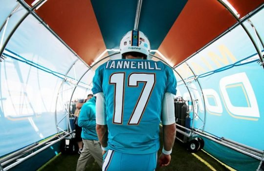 Miami has a new head coach and the same old quarterback. Can Tannehill make a leap? (Photo by Mike Ehrmann/Getty Images)