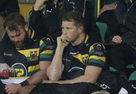 Dylan Hartley of Northampton Saints in the stand after being sent off