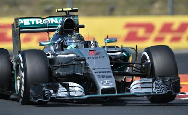 Mercedes AMG Petronas F1 Team's German driver Nico Rosberg competes during the Hungarian Formula One Grand Prix at the Hungaroring circuit  near Budapest on July 26, 2015