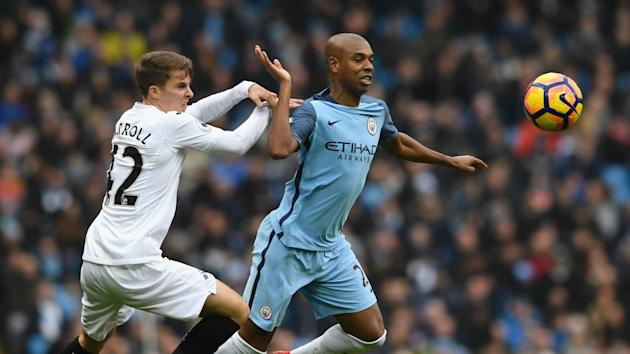 Pep Guardiola has deployed Fernandinho at left-back and right-back in Man City's last two games and the Brazil midfielder has no complaints.