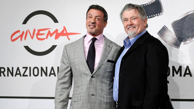 "Actor Sylvester Stallone, left, and director Walter Hill pose during the photo call of the movie ""Bullet to the Head"" at the 7th edition of the Rome International Film Festival in Rome, Wednesday, Nov. 14, 2012. (AP Photo/Andrew Medichini)"