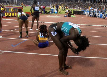 Tori Bowie of U.S reacts after her victory in the 100m women event at the IAAF Diamond League athletics meet, in Doha