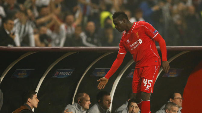 Football: Liverpool's Mario Balotelli as he is substituted