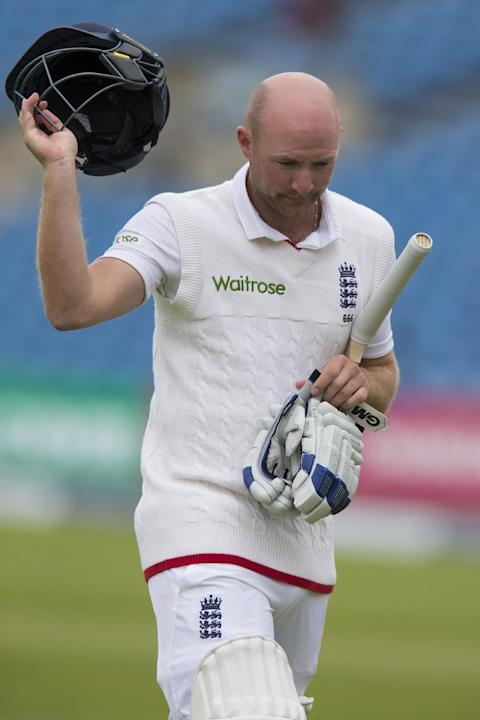 England's Adam Lyth walks from the pitch after loosing his wicket for 24 off the bowling of New Zealand's Trent Boult on the fifth day of the second Test match between England and New Zealand