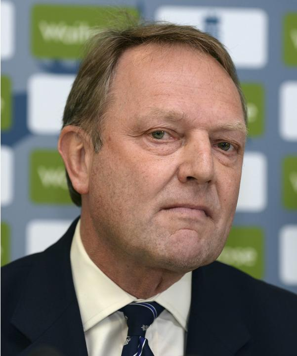 Managing Director of England Cricket Downton looks on during a news conference that confirmed Peter Moores as the new head coach of the England cricket team at Lord's cricket ground in London