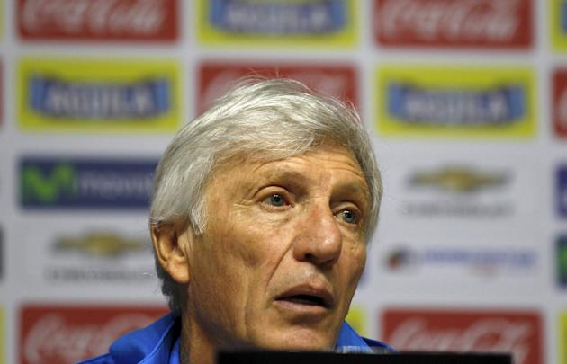 Colombia's national team soccer coach Pekerman speaks during a news conferences in Bogota