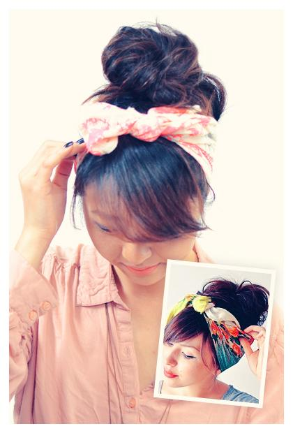 SCARF HEADBAND WITH UPDO