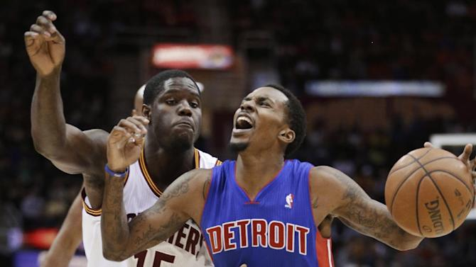 Detroit Pistons' Brandon Jennings is fouled by Cleveland Cavaliers' Anthony Bennett (15) during the third quarter of an NBA basketball game Monday, Dec. 23, 2013, in Cleveland. Jennings scored 21 points and had 13 assists in the Pistons' 115-92 win over Cleveland