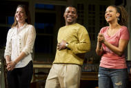 """FILE - In this Dec. 8, 2011 file photo, from left, Rosie Benton, Mekhi Phifer and Tracie Thoms appear at the curtain call for the opening night performance of the Broadway play """"Stick Fly"""", in New York. Mekhi Phifer is not used to be being shouted at, but it's part of his Broadway debut in """"Stick Fly."""" (AP Photo/Charles Sykes, file)"""