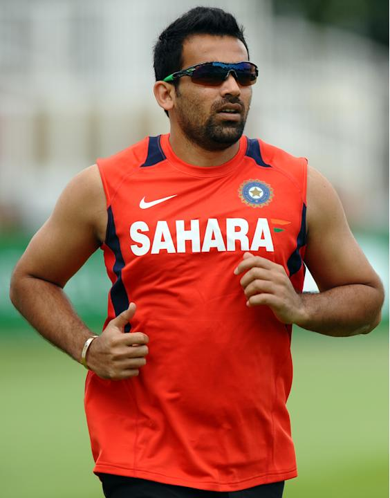 India's Zaheer Khan runs around the outfield during a practice session at Trent Bridge in Nottingham, central England, on July 28, 2011. England will take on India in the second test match beginni