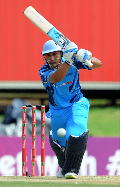 PRETORIA, SOUTH AFRCA - OCTOBER 13: Henry Davids of the Titans in action during the Champions League Twenty20 match between Nashua Titans (South Africa) and Perth Scorchers (Australia) at SuperSport P