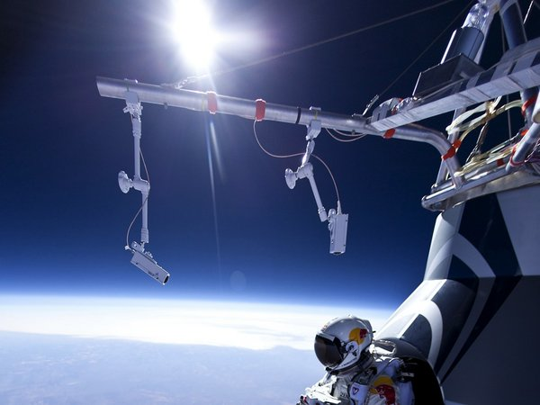 Austrian daredevil Felix Baumgartner gets set to leap from his capsule at an altitude of roughly 71,500 feet on March 15, 2012.