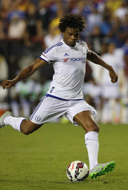 Chelsea Loïc Remy kicks the game winning goal in a penalty shootout against Barcelona during an International Champions Cup soccer match in Washington, Tuesday, July 28, 2015. The game was decided on