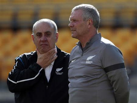 New Zealand's coach Herbert and technical advisor Blanco attend a training session for the 2014 World Cup qualifying match in Wellington