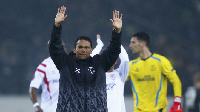 Sevilla's Bacca celebrates after defeating Borussia Moenchengladbach in Europa League soccer match in Moenchengladbach