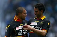 Lecce's Valeri Bojinov (L) and Davide Brivio during a Serie A match on April 22. Lecce visit the Juventus stadium for the first time fighting for Serie A survival after suffering back-to-back home defeats against Napoli and Parma