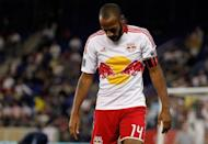 French striker Thierry Henry of the New York Red Bulls, pictured on September 19, was suspended by Major League Soccer for one match on Friday for a headbutting incident in the 93rd minute of a match two days earlier