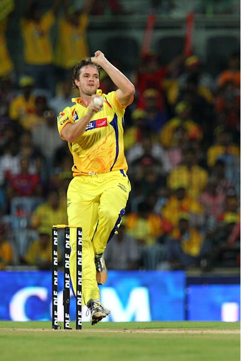 Chennai Super Kings Albie Morkel (L) bow