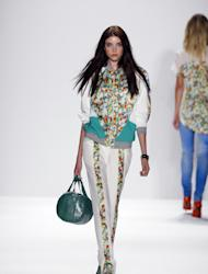 In this photo provided by Rebecca Minkoff, the Rebecca Minkoff Spring 2013 collection is modeled during Fashion Week in New York, Friday, Sept. 7, 2012. (AP Photo/Rebecca Minkoff, Gerardo Somoza)