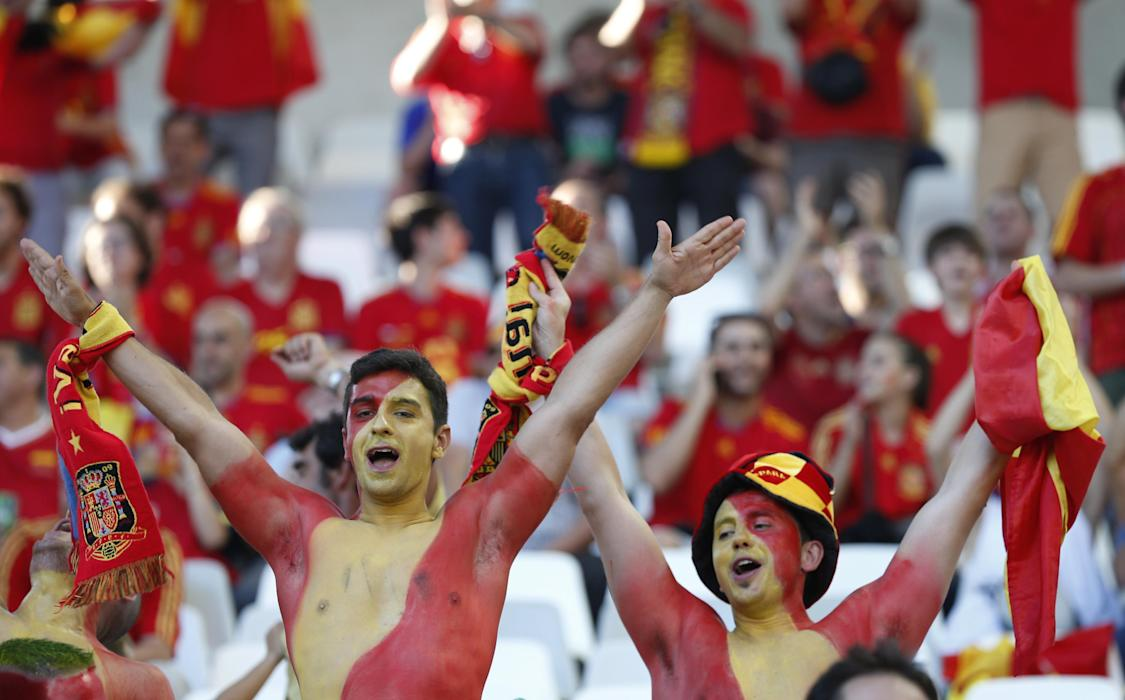 Spain fans before the match
