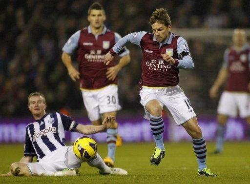 Brett Holman (right) on the ball for Aston Villa against West Bromwich Albion at The Hawthorns on January 19, 2013