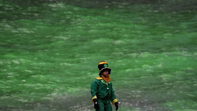 Chicago River Dyed Green In St. Patrick's Day Tradition