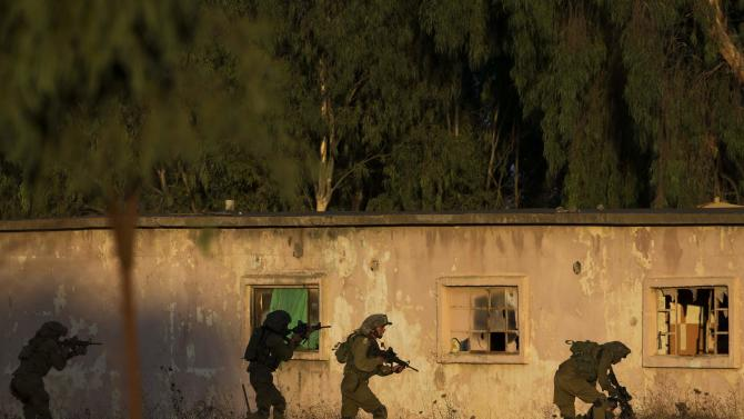 Israeli soldiers take part in a drill in the Israeli-occupied Golan Heights